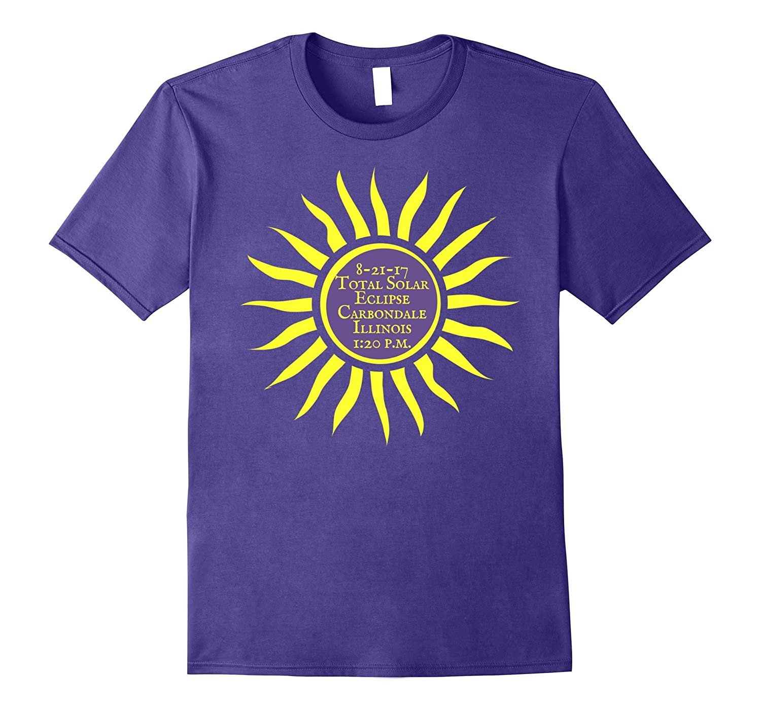 Carbondale IL Total Solar Eclipse T-Shirt, Aug.21 Sun Tee-BN