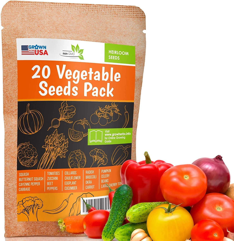 Vegetable Starter Garden Seeds Squash Herbs Beans Tomato Cucumber Radish Lot 17