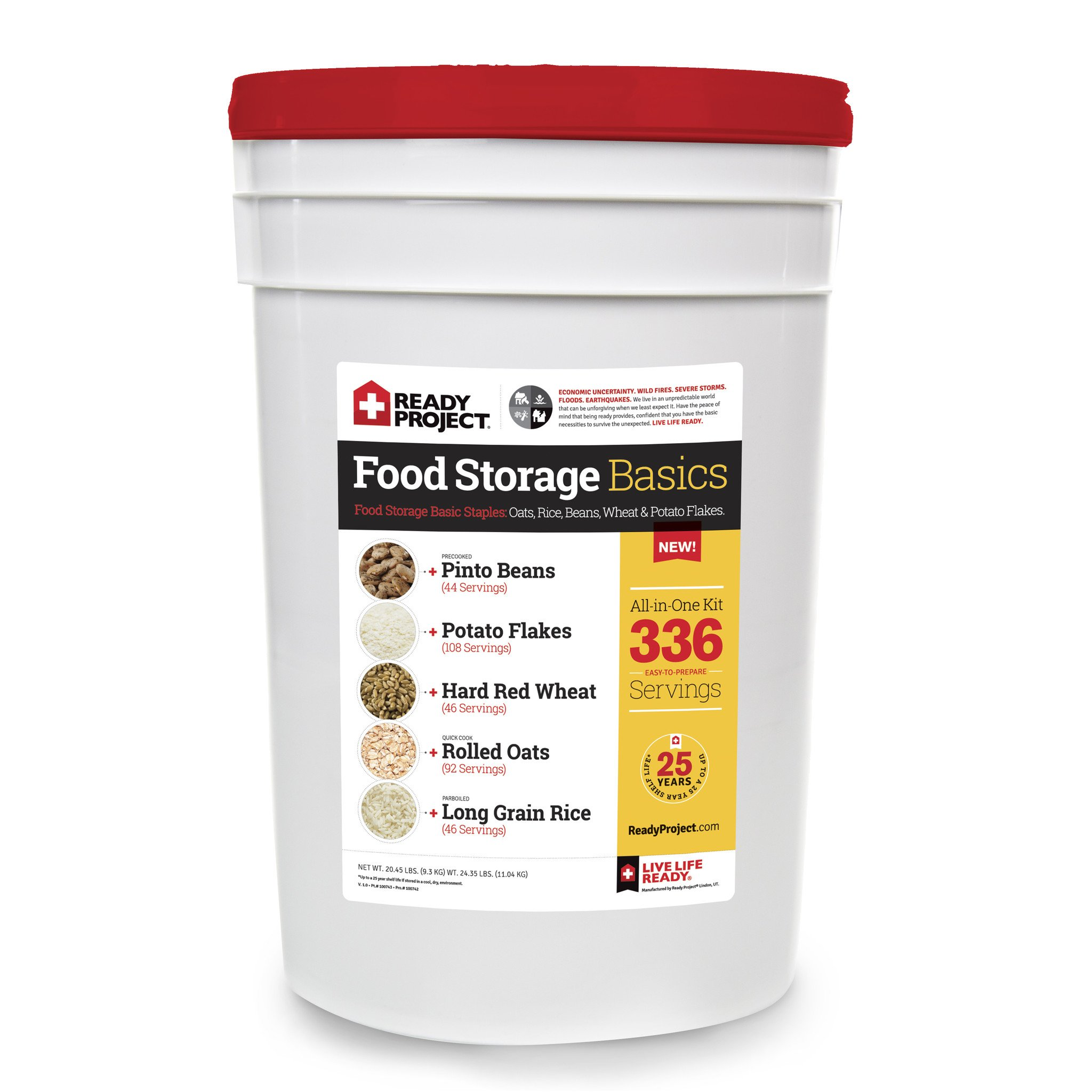 Food Storage Basics Supply Bucket - 336 Servings by Ready Project