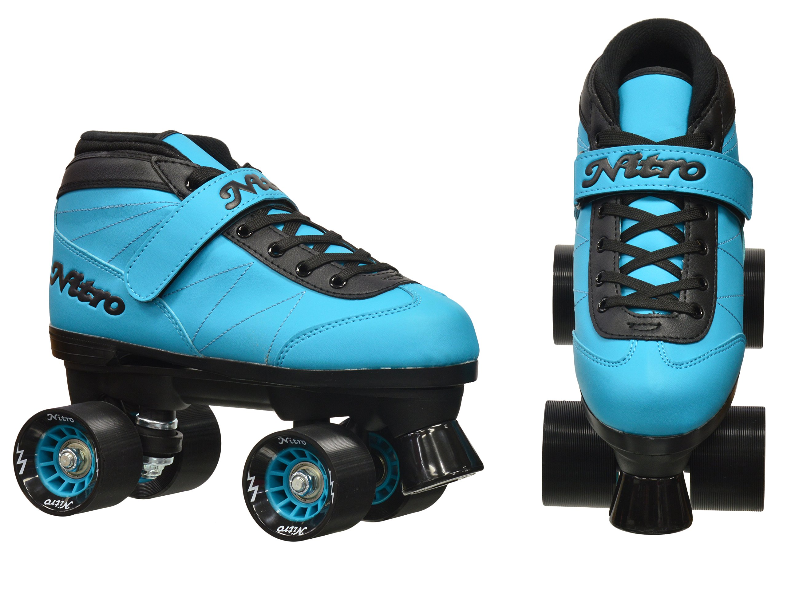 New! Epic Nitro Turbo Blue Indoor / Outdoor Quad Roller Speed Skates w/ 2 Pair of Laces (Blue & Black) (Mens 9) by Epic Skates (Image #3)