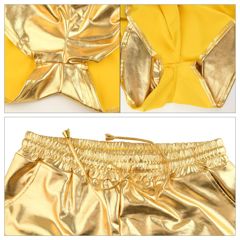 TUPARKA Womens Yoga Shorts Shiny Metallic Hot Shorts with 5Pcs Hair Band