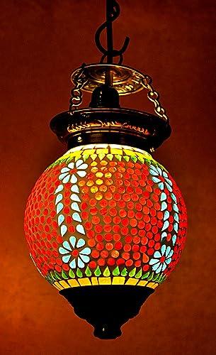 Amazon.com: clásico colgante (Cristal Sombra lámpara de ...