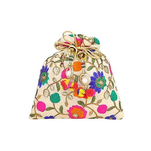 Aadhunik Libaas Ethnic Silk Potli bag Clutch Batwa Pouch with Embroidery and Metal Bead work Gift for Women & Girl's