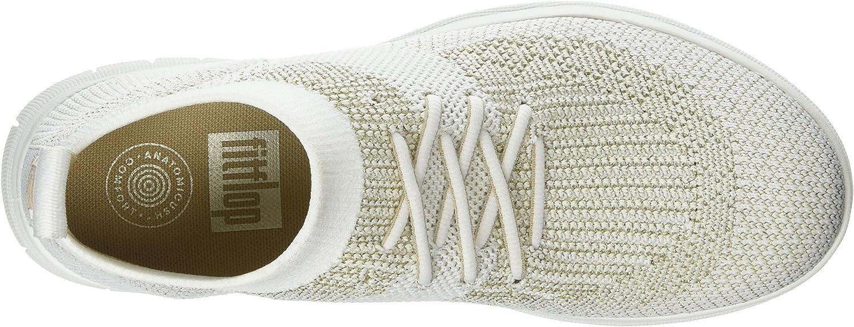 Fitflop Damen Uberknit Slip-on High Top Hohe Sneaker Mehrfarbig Metallic Gold Urban White 566