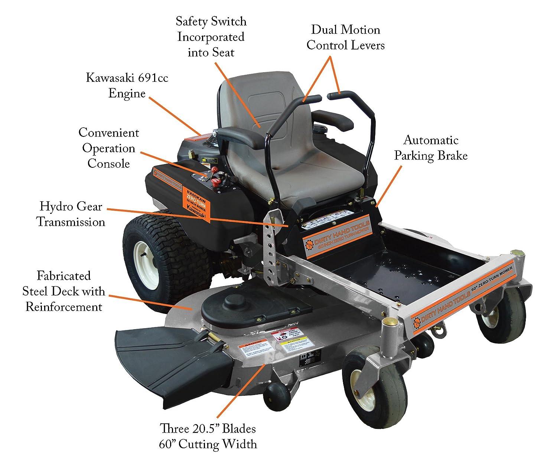 Amazon com : Dirty Hand Tools 103408 Zero Turn Mower with