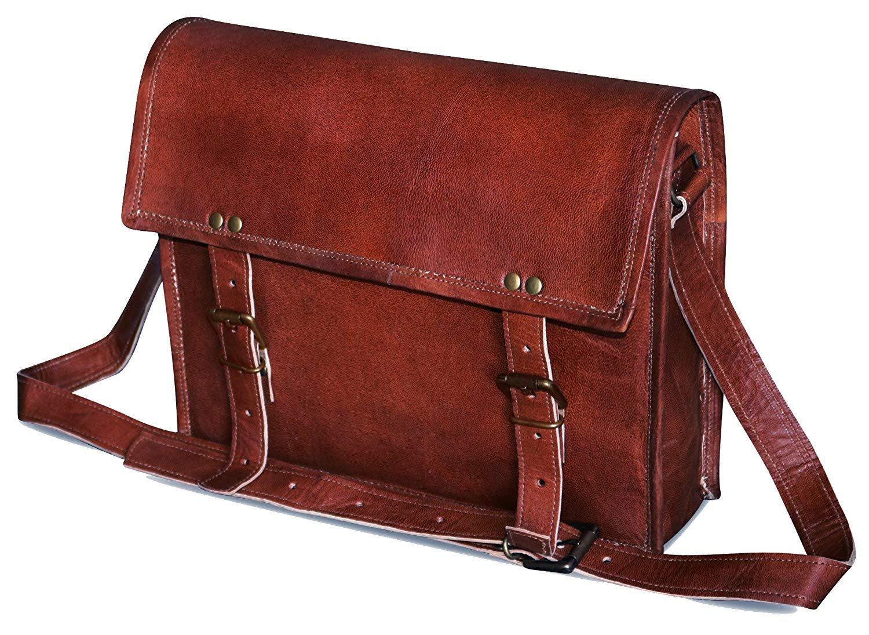 IndianHandoArt 13 Inch Distressed Messenger Bag Laptop Bag for Men and Women Big Buckle