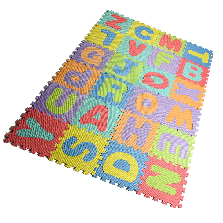 Joefan EVA foam puzzle mat,Kids Puzzle Alphabet,Play Mat,26 Titles and Edges EVA Foam Mat for Kids,12'' by 12''
