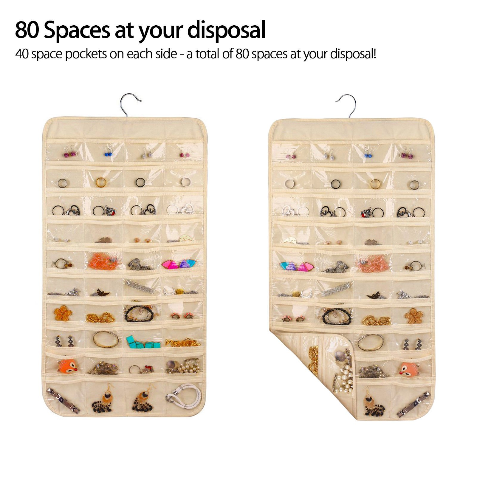 ComboCube Beige 80 Pockets Hanging Jewelry Organizer Jewelry
