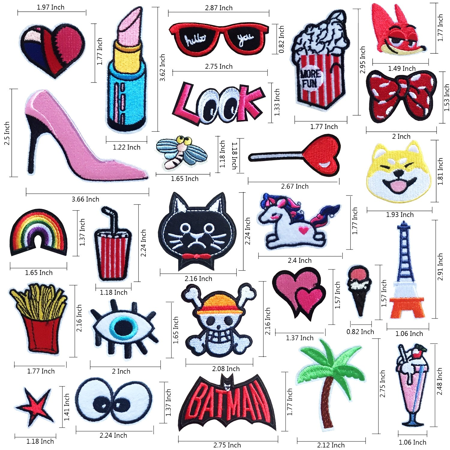 C Style 20pcs Iron On Patches Embroidered Appliques DIY Decoration or Repair,Sew On Patches for Clothing Backpacks Jeans Caps Shoes etc