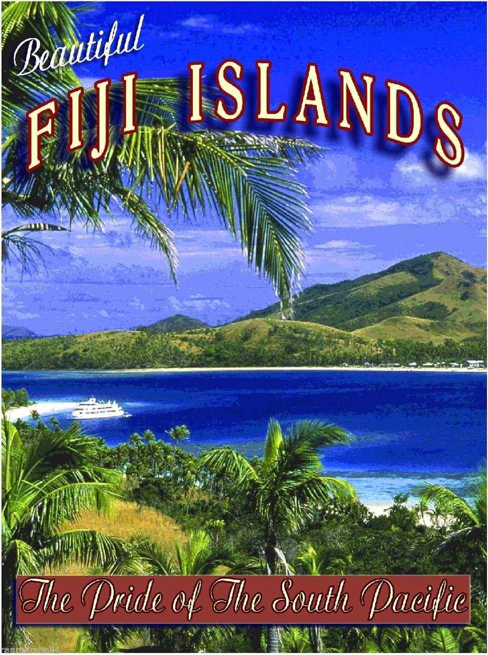 MAGNET Fiji Islands Island South Pacific Beach Ocean Travel Advertisement Art Magnet