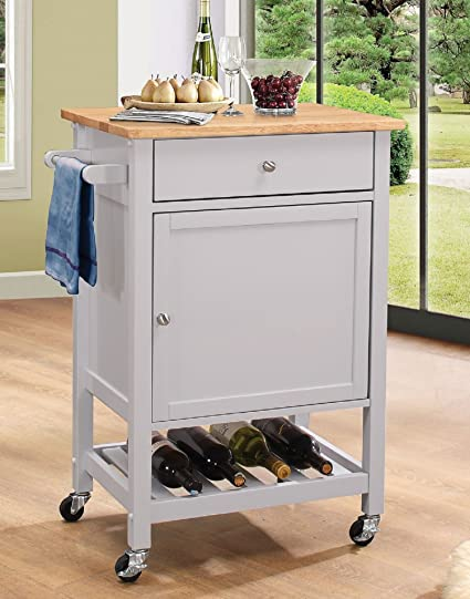 Major-Q 9098300 Natural and Gray Finish Wheeled Kitchen Island Cart with  Spice, Towel, Drawer, and Wine Bottle Rack