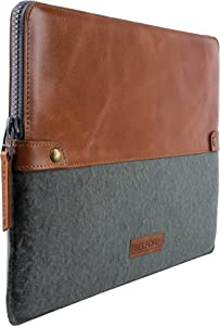 Genuine Leather Top Grain Tan and Felt Padded Sleeve for 12 inch Laptop MacBook HP Lenovo iPad 9.7 10.5 - BELFORD