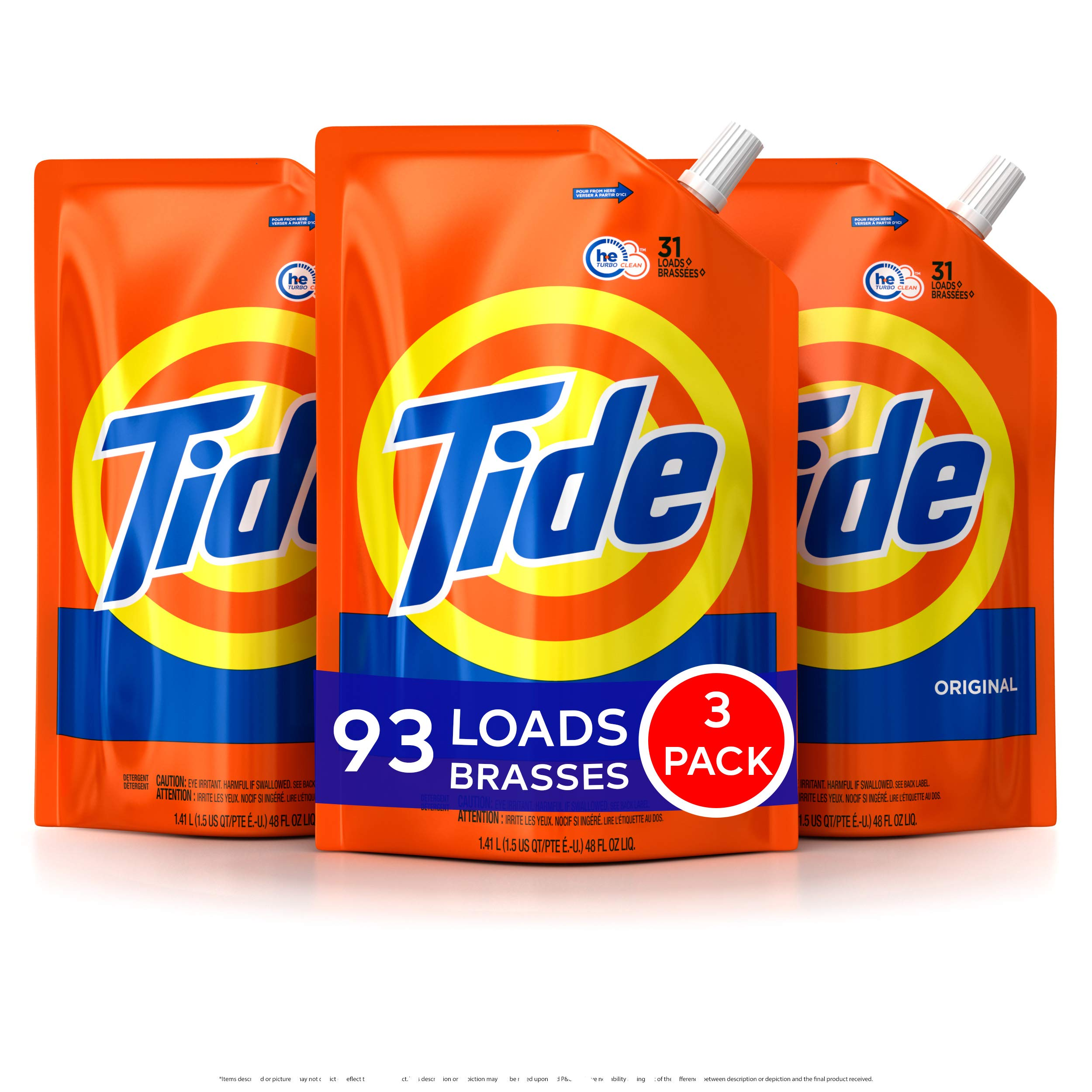Tide Laundry Detergent Liquid, Original Scent, HE Turbo Clean, Pack of 3 Smart Pouches, 48 oz Each, 93 Loads Total by Tide