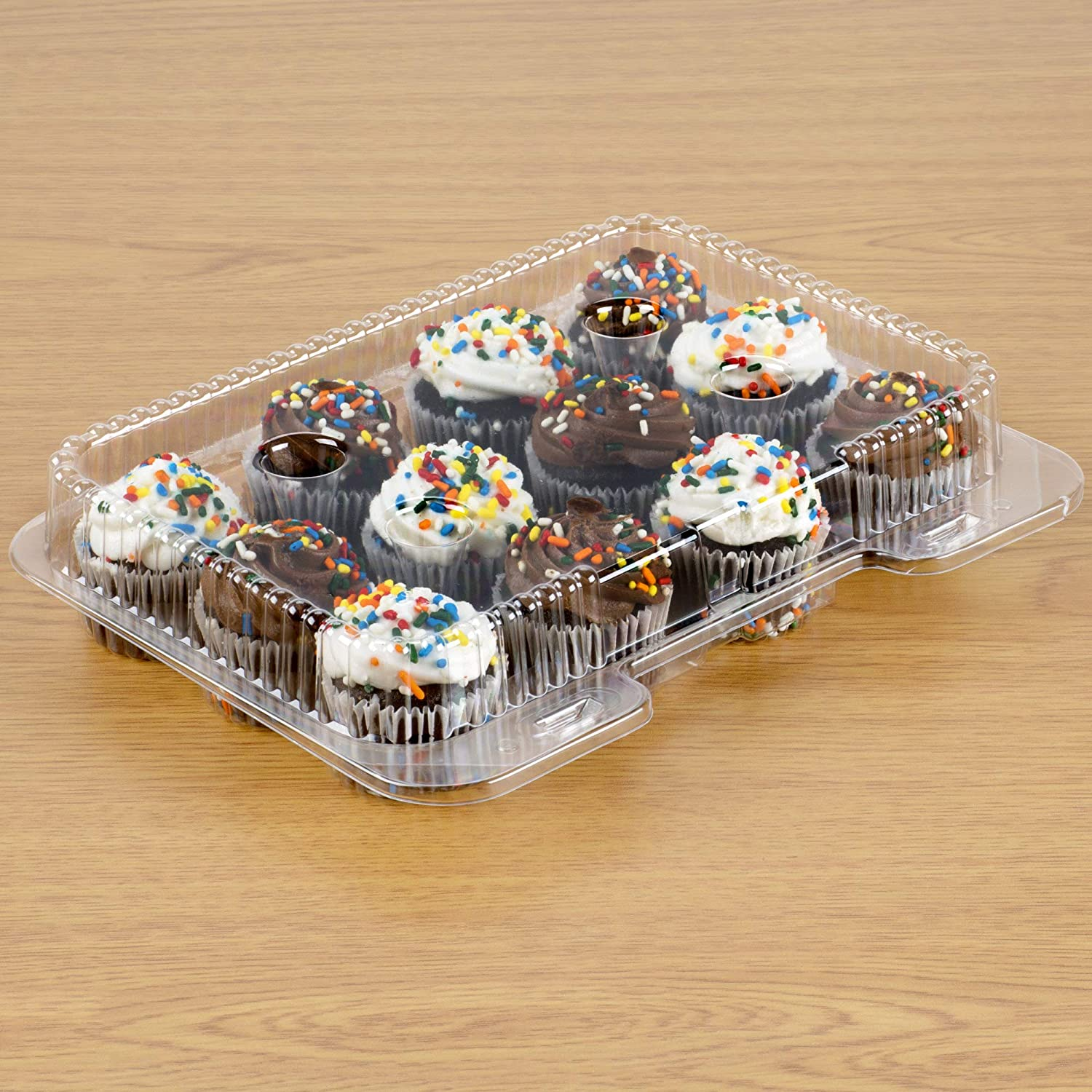 40 Mini Cupcake Boxes | Mini Cupcake Container 12 Compartment – Clear Plastic Mini Cupcake Carrier | Mini Muffin Holders - Small Cupcake Clamshell | Disposable Cupcake Packaging Transporter