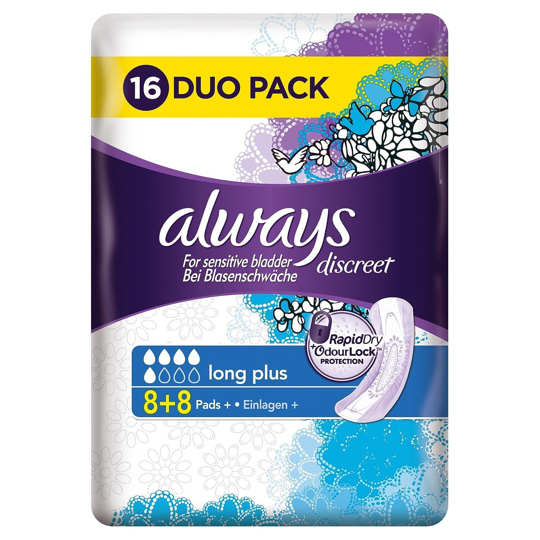 Always Discreet Long Sanitary Pads for Sensitive Bladder - Pack of 16 Procter & Gamble ALW0257R