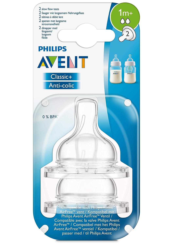 Philips Avent SCF632//27 Klassik-2-Loch Sauger 2er-Pack langsamer Nahrungsfluss