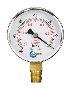 "CARBO Instruments 2-1/2"" Pressure Gauge, Chrome Plated Steel Case, Dry, Vacuum -30 Hg/0, Lower Mount 1/4"" NPT"