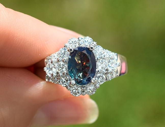 83064144898fd Amazon.com: Natural Alexandrite Diamond Ring 2.06 cttw GIA Certified ...