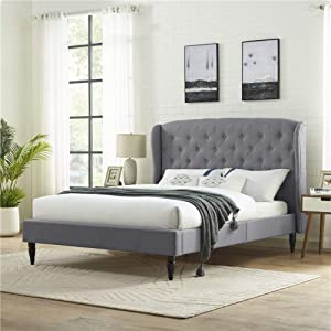 Classic Brands Coventry Upholstered Platform Bed   Headboard and Metal Frame with Wood Slat Support, King, Light Grey