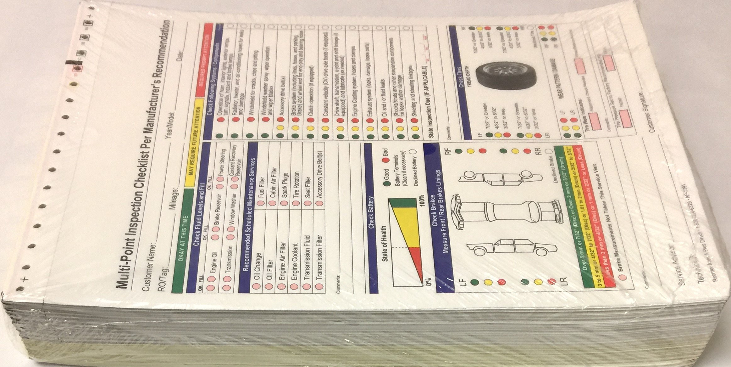 Multi-Point Inspection Forms - (250/pack) 7291 (W15) by A Plus Dealer Supplies (W15) (Image #5)