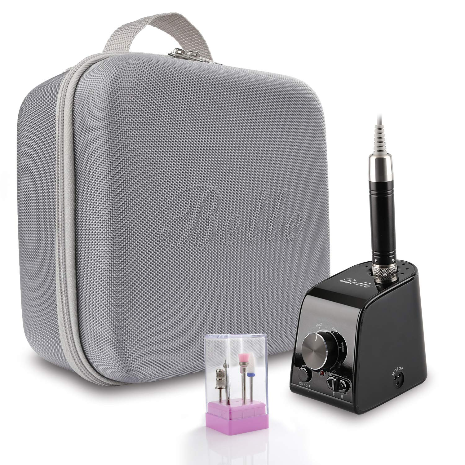 Belle Newest 35000RPM Vertical Nail Drill Electric Brushless Efile Manicure Pedicure Drill with a Portable Bag for Acrylic Gel Nails, Black
