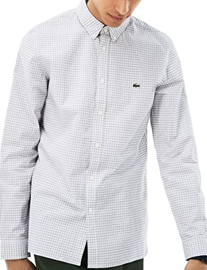 226214dc Lacoste Men's Checked Slim Fit Shirt White at Amazon Men's Clothing ...