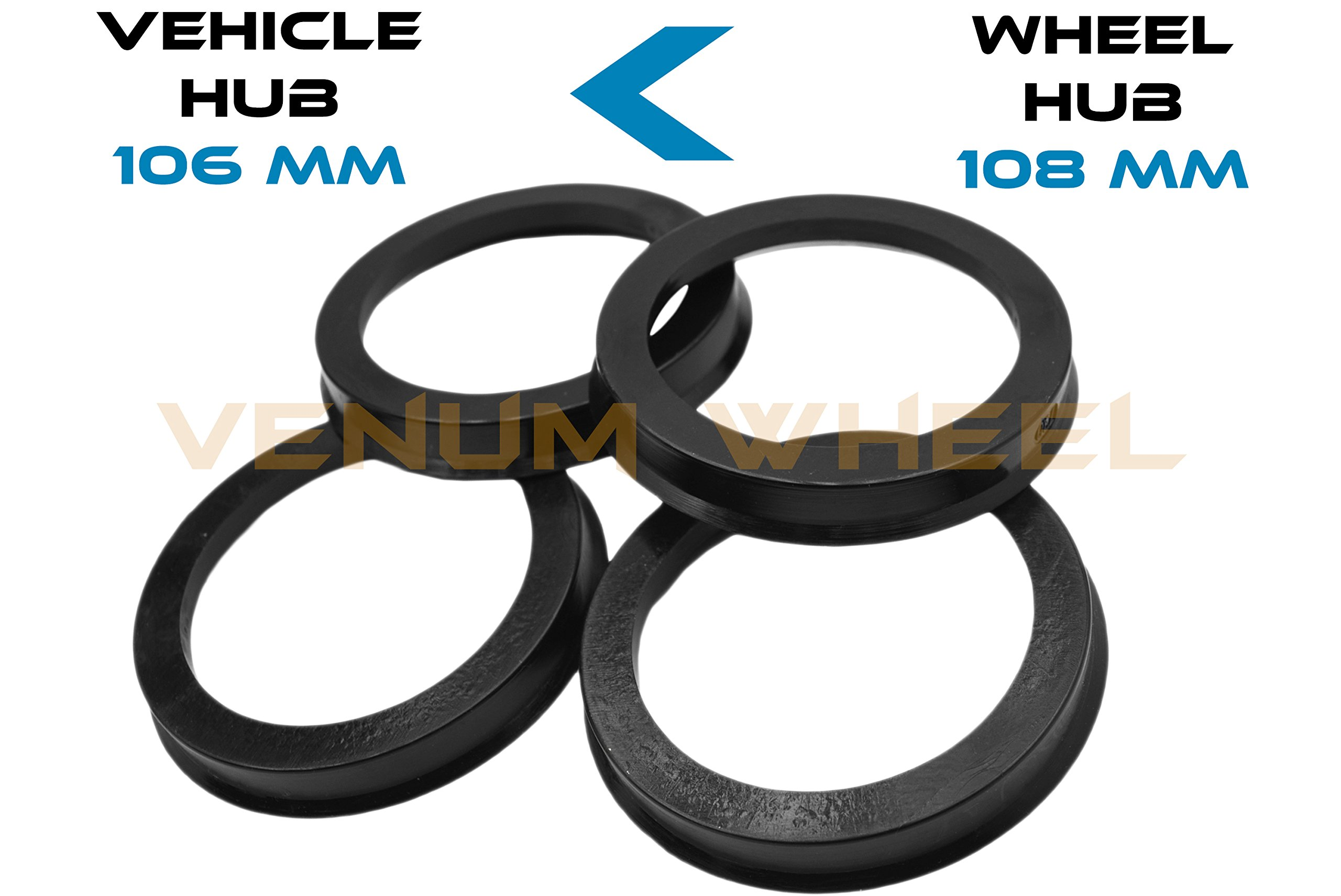 4 Hub Centric Rings 106 ID To 108 OD Black Polycarbonate Material ( Vehicle 106mm to Wheel 108mm)