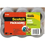 Scotch Sure Start Packaging Tape, 1.88 Inches x 900 Inches for 1.5 inch core, 6 Rolls per Pack, Smooth and Quiet Unwind, Works on all Boxes Including Recycled Boxes, (DP-1000RF6)