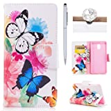 Nokia 3 Flip Case- Felfy PU leather Wallet Cover for Nokia 3, Artificial Premium Leather Wallet Folio Cover with Magnetic Stand Function and Money Credit Card Slot Case Cover for Nokia 3, Bright Special Design Case with Feather,Butterfly for Nokia 3 +1 Stylus Pen + 1 Dust Plug(Color is Random).Two Butterflies