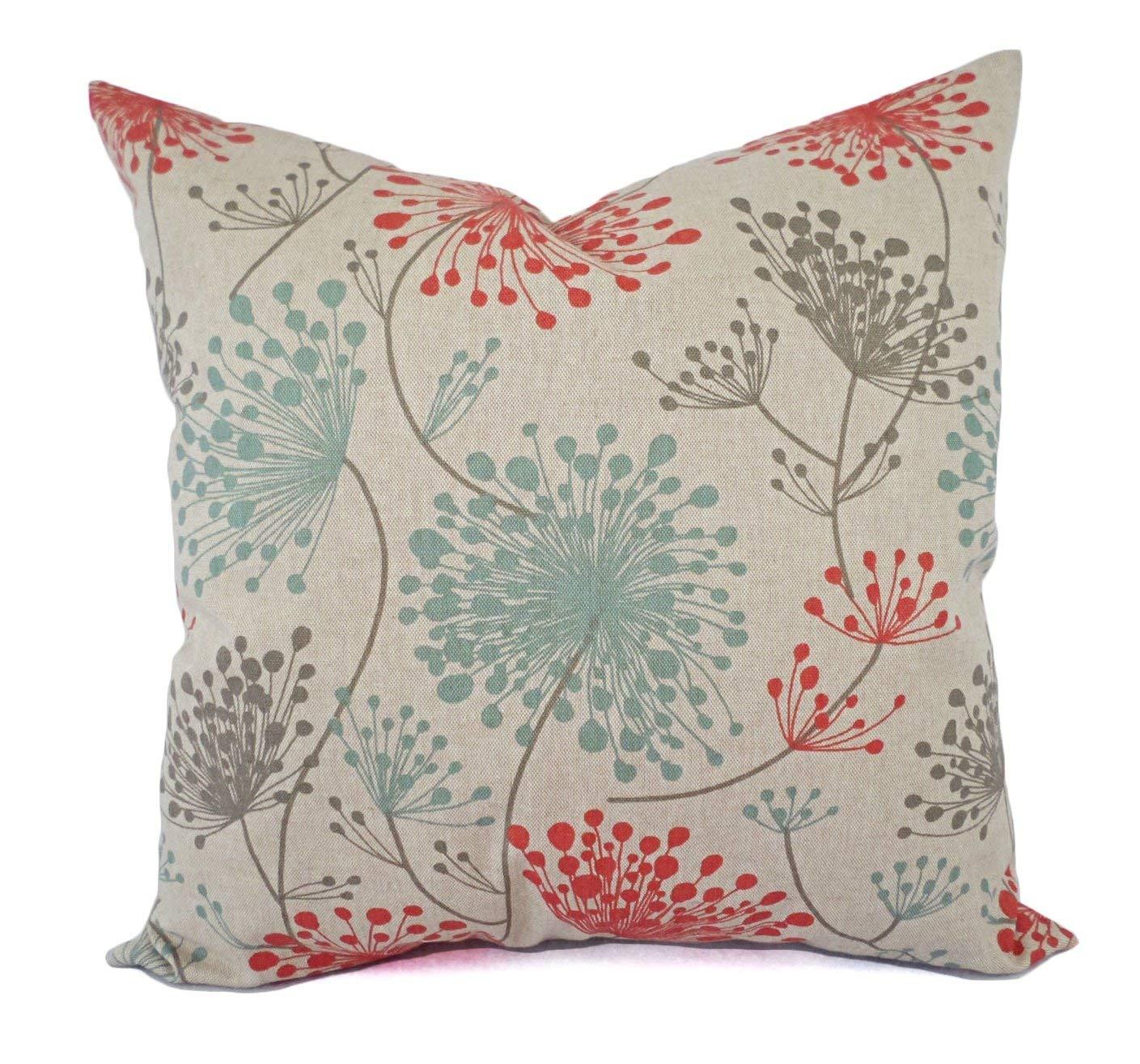 Orange Blue and Beige Floral Pillow Shams - Orange Blue Pillow Covers -  Linen Pillow Cases - Decorative Pillows - Accent Pillows