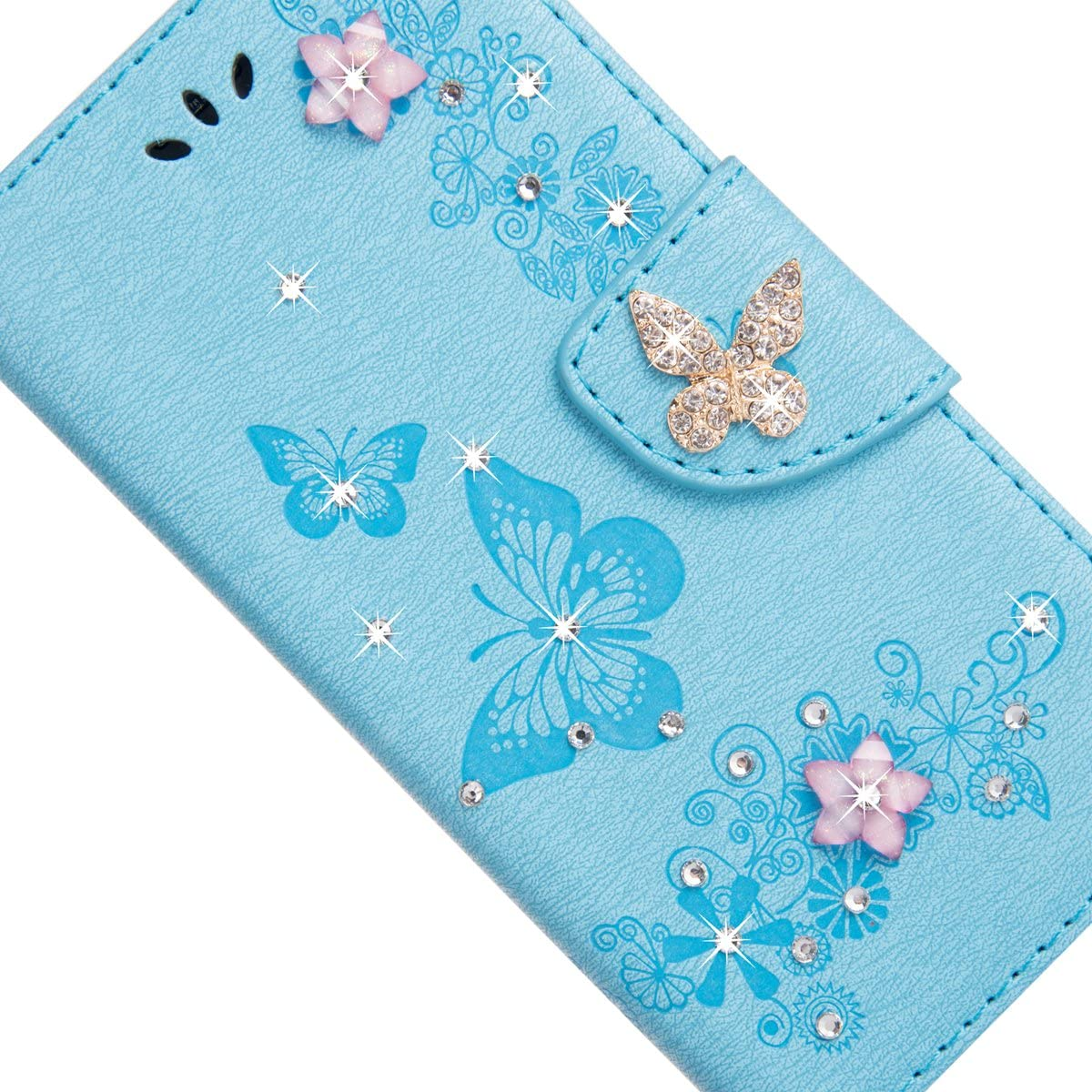 ,Mo-Beauty Floral Bling Sparkly Diamonds Butterfly Pattern Design PU Leather Flip Wallet Case Cover For Samsung Galaxy S8 Free Tempered Glass Screen Protector Galaxy S8 Case Grey