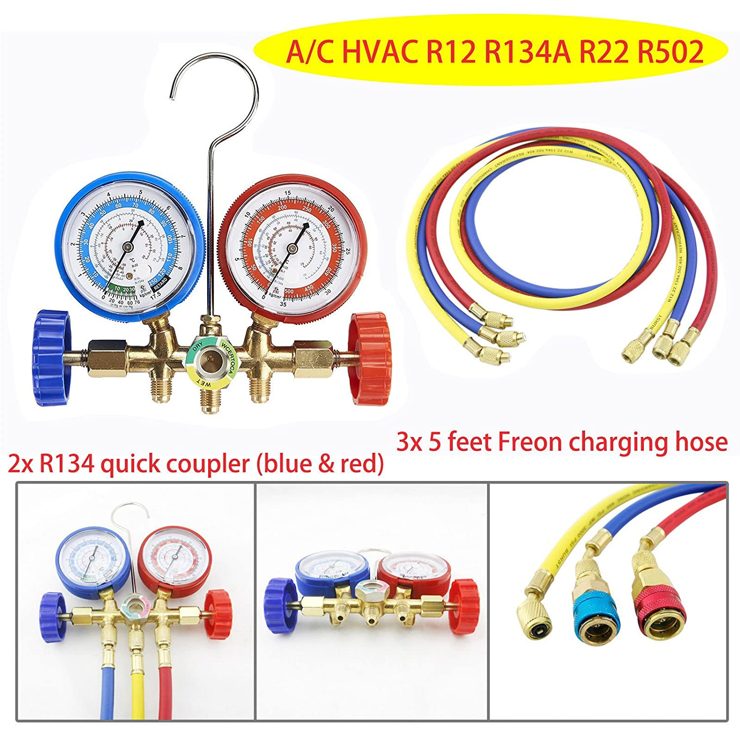 9TRADING R12 R22 R502 R134A Manifold Gauge Set 5ft Hose Quick Coupler Refrigeration ACME, Free Tax, Delivered within 10 days