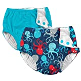 i play. 2 Pack Boys Reusable Baby Swim Diapers Aqua and Navy Blue Octopus 6 Months