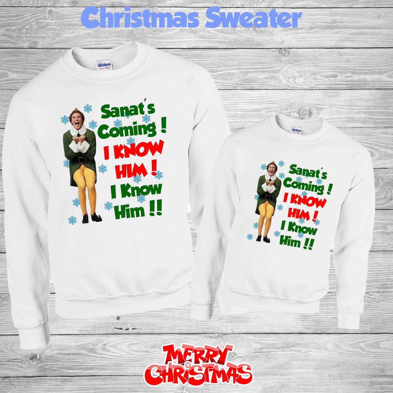 Buddy The Elf Christmas Santa is Coming I know Him Unisex Jumper Sweatshirt Top