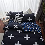 3 piece Reversible Duvet Cover Sets with Zipper Soft Microfiber Design by Paukin Bedding ,King Size, Cross