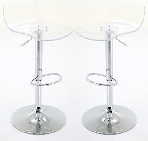 Brage Living Height Adjustable Clear Acrylic Barstool Set Set of 2