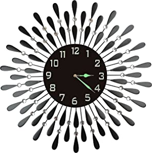 "Lulu Decor, Black Drop Metal Wall Clock 23"", 9.5"" Black Glass Dial with Arabic Numbers, Decorative Night Dial Clock for Living Room, Bedroom, Office Space"