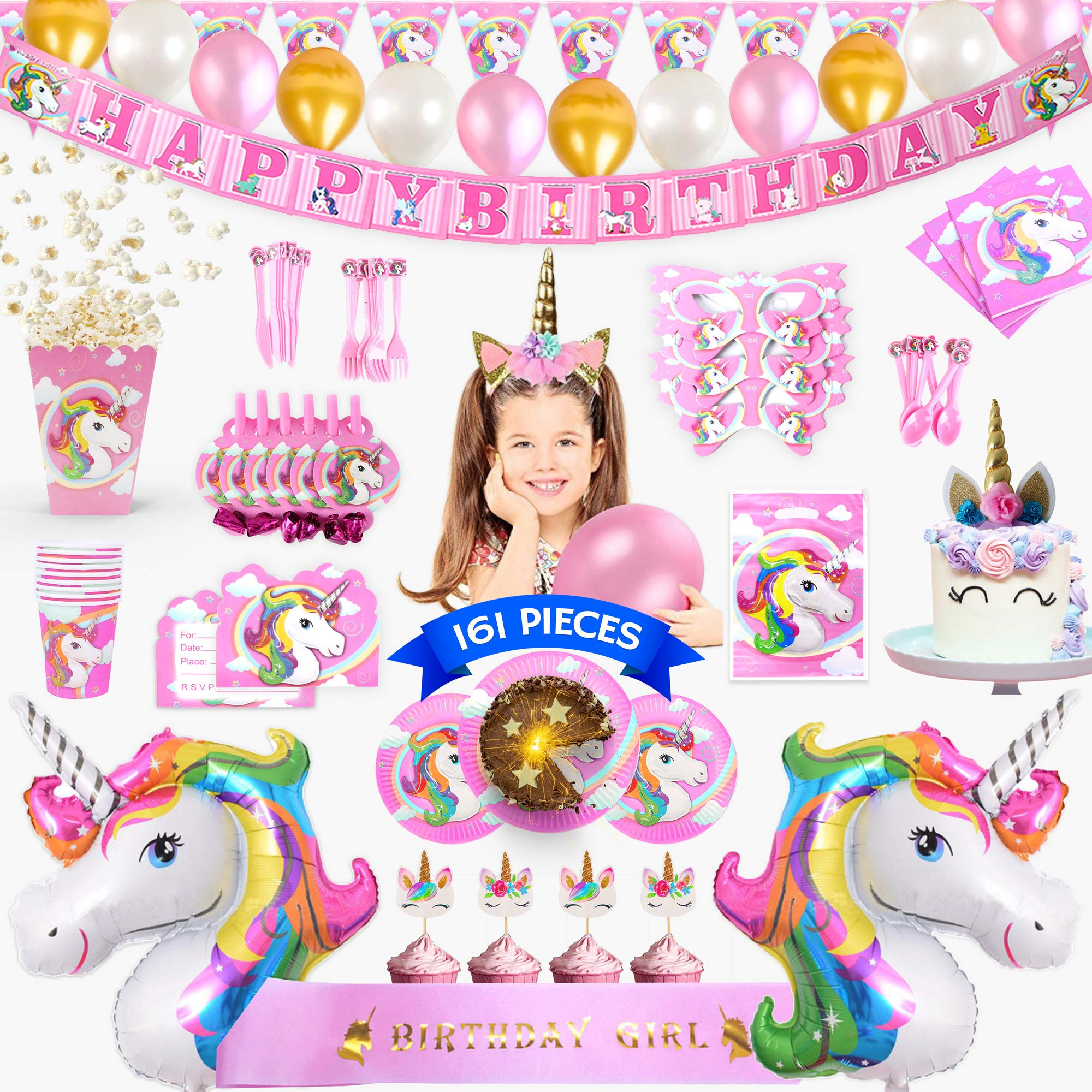 Unicorn Party Supplies - 161 Pieces Rainbow Girls Birthday Supplies Pack with Unicorn Face Masks, Pink Unicorn Headband and a Sash for Birthday Girl, Birthday Party Decorations, Unicorn Balloons, Pin the Horn on the Unicorn Game and more| Serve 10