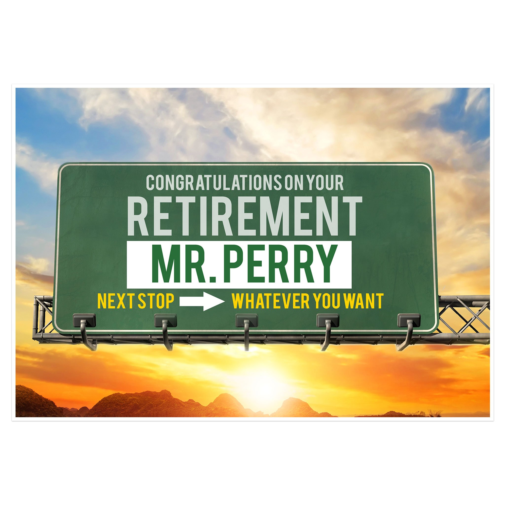 Road Sign Retirement Banner Personalized Party Backdrop