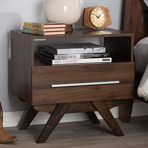 Baxton Studio Ashfield Mid-Century Modern Walnut Brown Finished Wood Nightstand/Mid-Century/Brown/Medium Wood/Particle Board/MDF