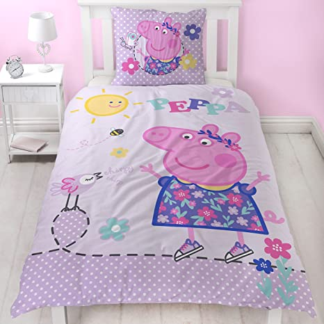Peppa Wutz Mädchen Bettwäsche Kinderbettwäsche Lila Rosa Pink Peppa Pig Sunny Day Wendebettwäsche In Flanell Biber Kissenbezug