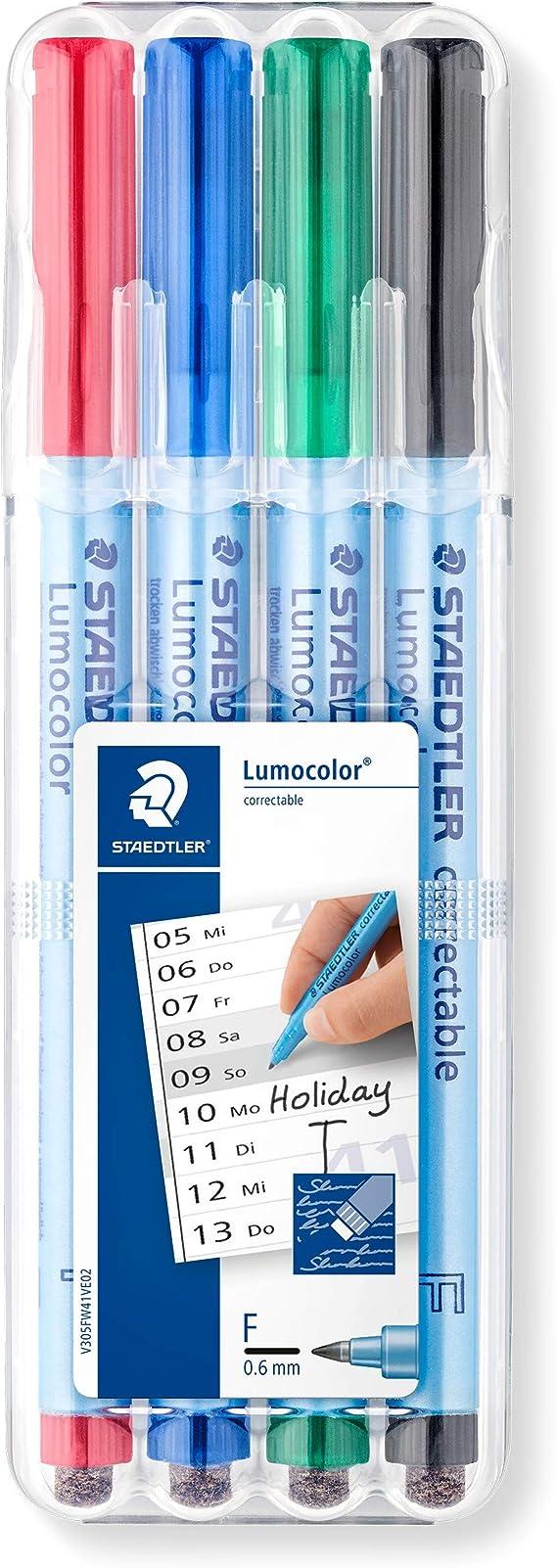 Image ofStaedtler Lumocolor 305F WP4-1. Rotulador borrable de punta fina. Estuche con 4 marcadores de colores variados.
