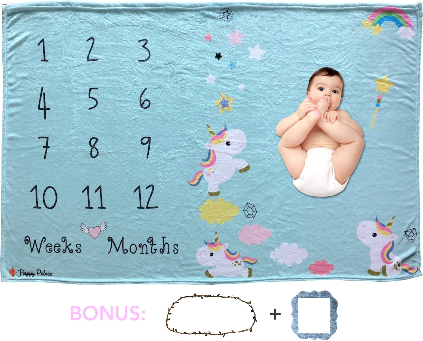 Happy Palace Adorable Weekly Monthly Baby Milestone Blanket (Floral Wreath and Frame Included) | Cute Photo Backdrop and Prop for Newborn Boy and Girl, for New Mom | Premium Fleece Large 60''x40''
