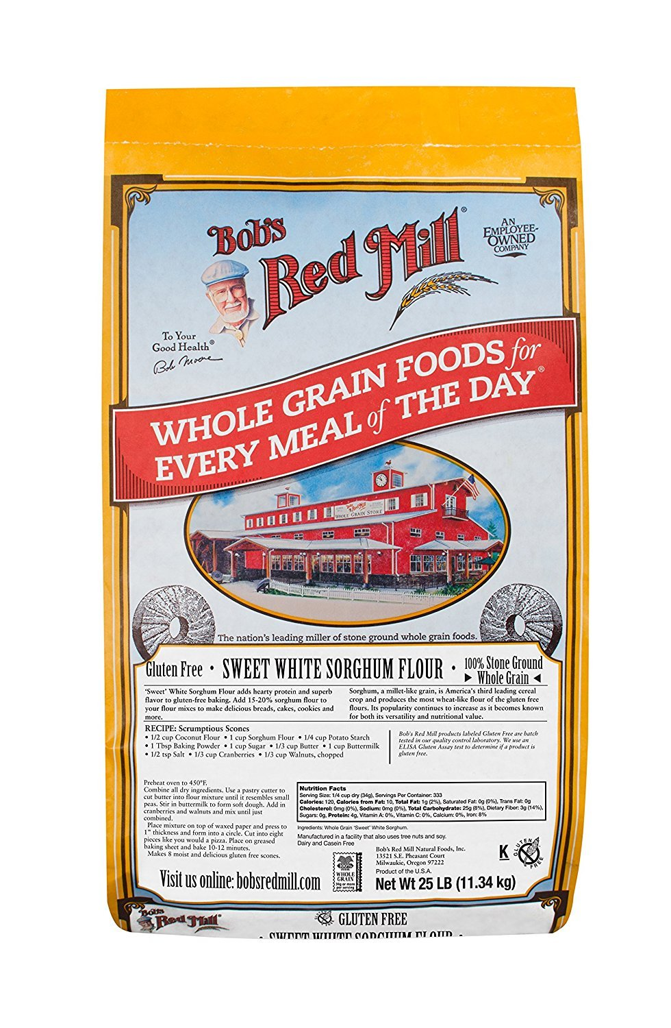 Bob's Red Mill Bulk Sweet Sorghum Flour, Gluten Free, 25 Pound by Bob's Red Mill