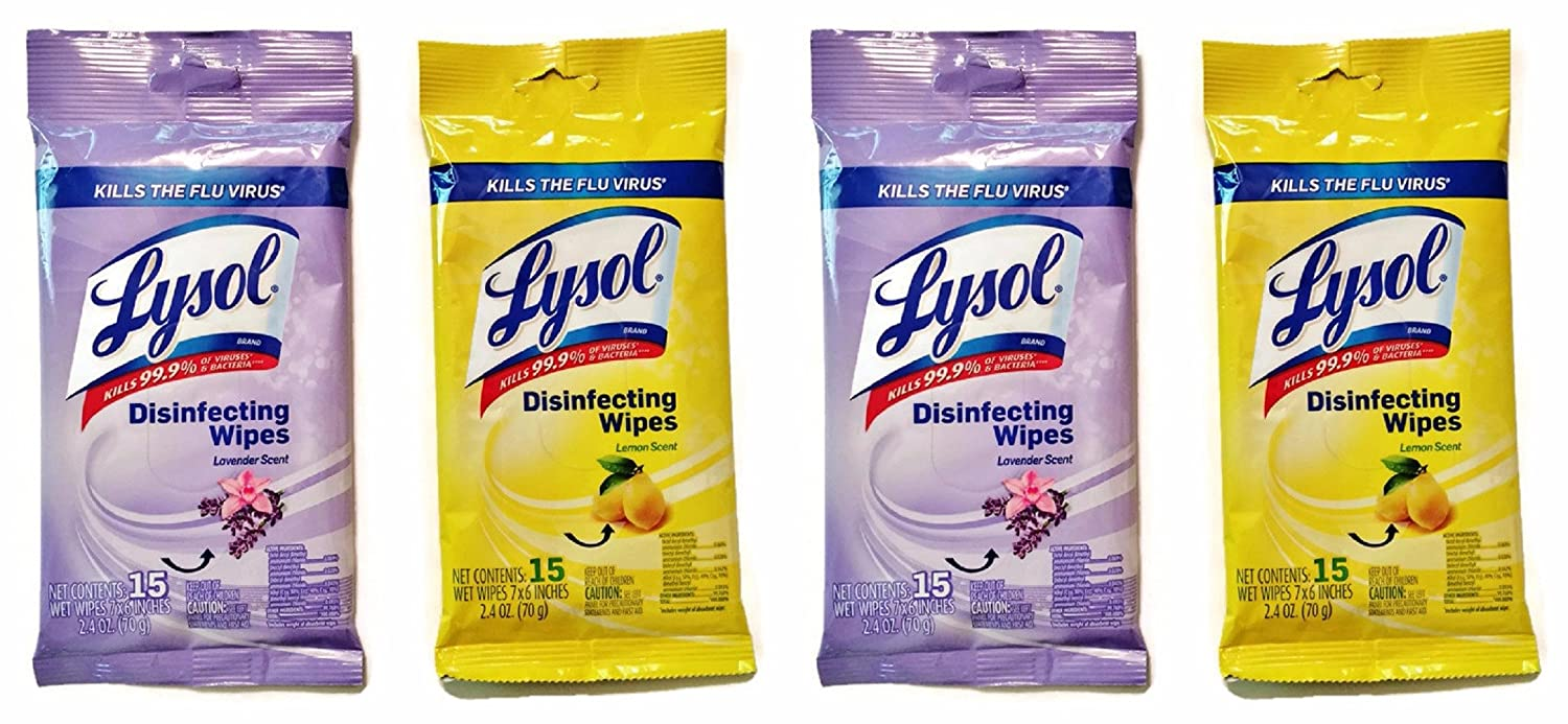 Lysol Disinfecting Wipes, On the Go Travel Size, Lemon and Lavender Scents, 4-pk AX-AY-ABHI-115553