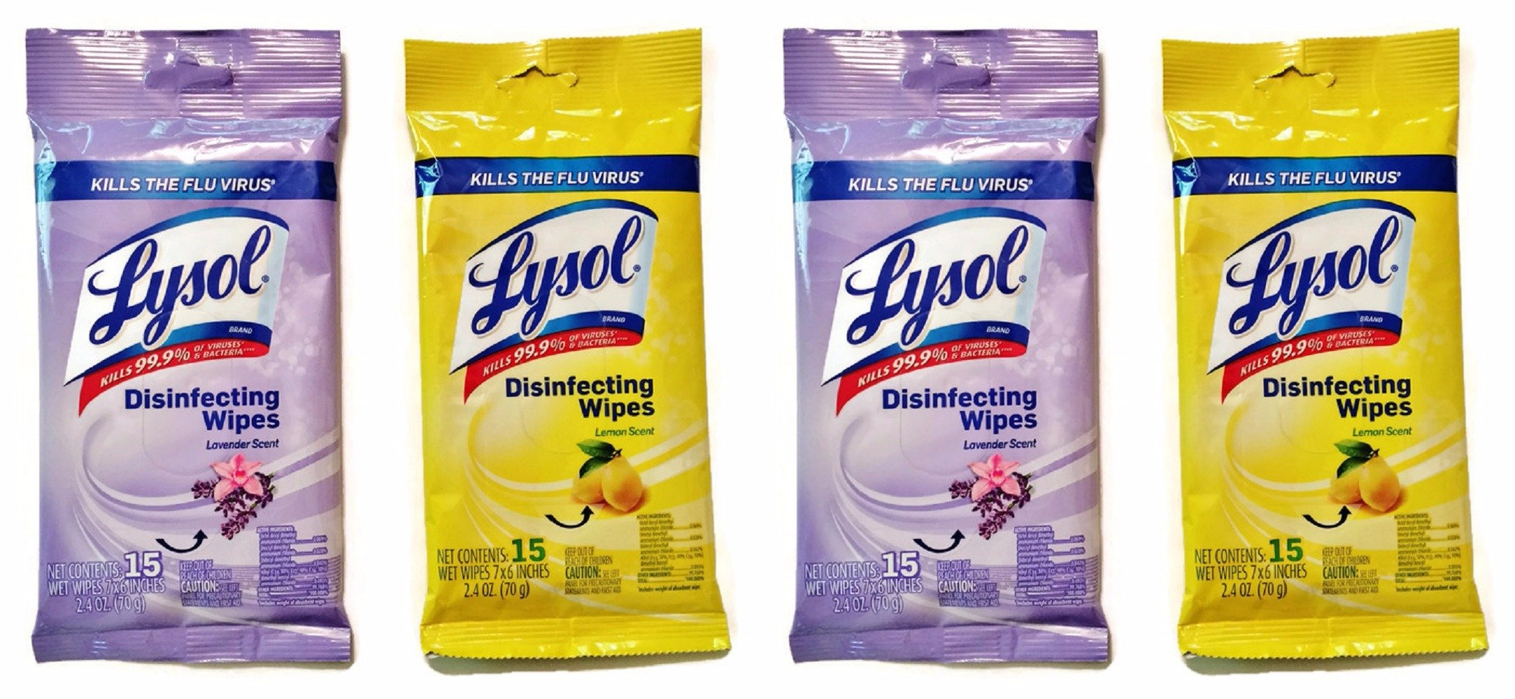 Lysol Disinfecting Wipes, On the Go Travel Size, Lemon and Lavender Scents, 4-pk