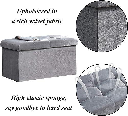 VECELO Tufted Velvet Ottoman Foot Stool Soft Large Padded Stool Upholstered Decorative Furniture Rest Grey