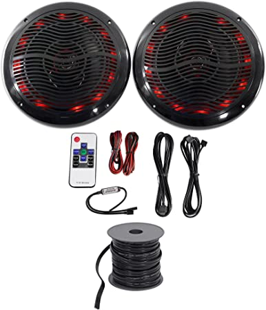 4 Rockville 6.5 600 Watt Speakers w//LEDs+Remote Polaris//ATV//UTV//RZR//CART