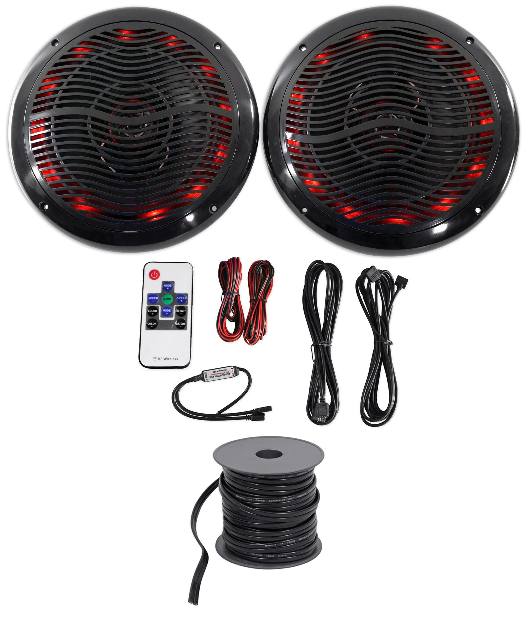 Rockville 2 6.5'' 600w ATV/UTV/RZR/CART/Polaris Speakers+Multi Color LED+Remote
