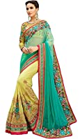 indian e fashion Georgette Saree with Blouse piece (Turquoise & Yellow_Free Size)